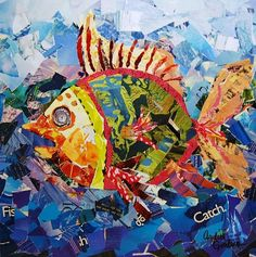 """""""Fresh Catch"""" Torn Paper collage - use with stories/lessons related to fish? Group project w/ kids?"""