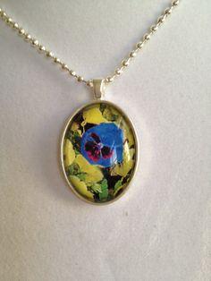 Blue Pansy Pendant Necklace by joytoyou41 on Etsy, $25.00