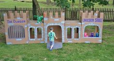 Knights Birthday Party. Castle made from recycles boxes. Cool:)