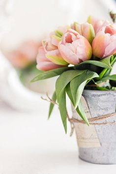 Beautiful photo of this bucket of tulips. Composition is interesting with the tulips going off the page. The soft colors in the tulips are so delicate. My Flower, Fresh Flowers, Spring Flowers, Beautiful Flowers, Beautiful Soul, Romantic Flowers, Flower Petals, Simply Beautiful, Deco Floral