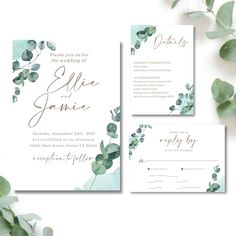 """This Wedding Invitation bundles is a fully editable design. Add Foto on back side if needed. Personalize your template in CANVA, an easy to use template editor that works in your web browser And phone. INCLUDES ——————— • Wedding Invitation - 5"""" x 7"""" • RSVP - 5"""" x 3.5"""" • Details Insert - 3.5"""" x 5"""""""