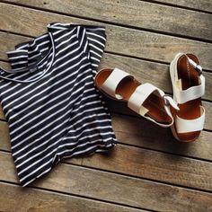 stripes + white sandals