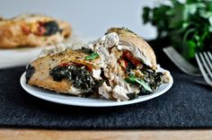 Crockpot Stuffed Chicken Breasts with Spinach, Roasted Red Pepper, Parmesan + Goat Cheese Recipe on Yummly