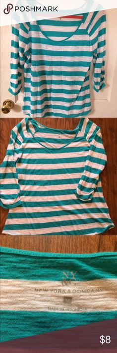 Turquoise and white striped shirt Turquoise and white striped shirt from New York and Company. Thin, almost sheer fabric, looks nice layered over a camisole! New York & Company Tops Blouses