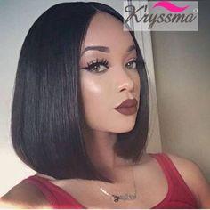 Straight Short Bob Human Hair Wigs Italian Yaki 7A Brazilian Remy Hair Lace Wigs