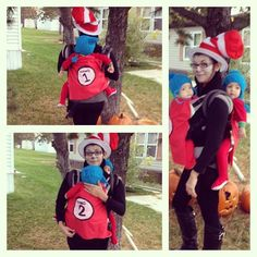 Twin babywearing costume: Mia and twins as the Cat in the Hat with thing one and thing two!
