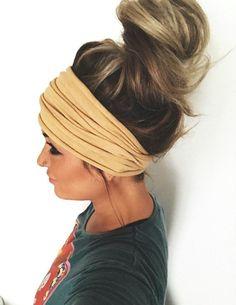 Moon Child  Scrunch Headband Extra Wide Headband by pebbyforevee