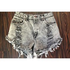 High Waisted Denim Shorts Acid Wash Vintage Distressed Denim Xsmall... (£23) ❤ liked on Polyvore featuring shorts, bottoms, grey, women's clothing, high-waisted jean shorts, ripped denim shorts, cut-off jean shorts, high waisted jean shorts and high waisted denim shorts