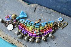 Boho, hippie,  bracelet, Ethnic multi strand bracelet, Gypsy bracelet, Tribal bracelet, Trade bead bracelet, Bell, palmology