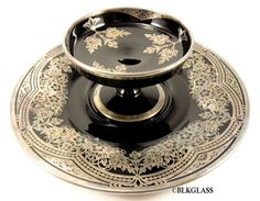 2 piece Rockwell Silver Overlay Central Black Glass Cracker Plate Cheese Dish  #CentralGlass