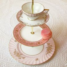 Alice Throws a Pink Party No. 14, 3 Tier Cupcake Tower and Tiered Tea Stand Display Centerpiece for Wedding, Princess Birthday or Shabby Chic Bridal Shower made of vintage English fine bone china dishes (plates, teacup, saucer) by High Tea for Alice