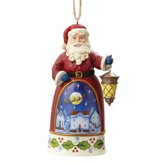 4055133 Mini Santa With Lantern (Hanging ornament)(Pack 6)- Designed by artist Jim Shore, this festive Santa holding a lantern is a bright addition to any tree #Festive #Christmas #JimShore