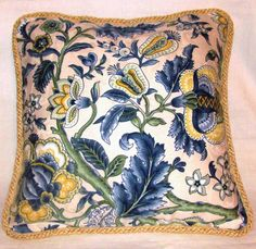 French Country Romantic Cottage Pillow Blue Floral Garden Ivory Eastern Yellow. $48.99, via Etsy.