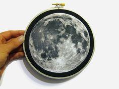 Moon Print in Embroidery Hoop Galaxy Print by WordosaurusText