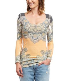Spring Horse Mudroom Yellow & Gray Floral Sublimated Scoop Neck Tunic