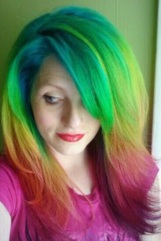 Rainbow Hair!  roygbiv by ugg-off, via Flickr