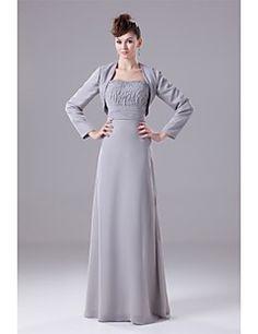 Sheath/Column Mother of the Bride Dress - Lavender Floor-length Organza / Satin