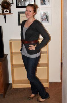 stripe shirt, belt and cardigan flats