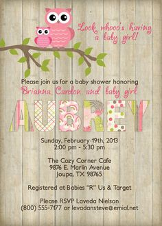 Owl baby shower invitation with wood by freshlysqueezedcards