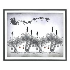 Stamp-it Australia: Kangaroo Sleigh, Grass Tree Chrismtas - Card by Susan Christmas Card Crafts, Christmas Drawing, Xmas Cards, Christmas Art, Christmas Ideas, Australian Christmas Cards, Aussie Christmas, Summer Christmas, Yule Crafts
