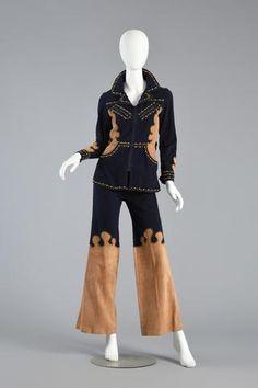 1970s Roncelli Studded Leather + Denim Suit