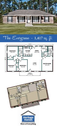 1 400 1 500 Sq Ft Floor Plan The Evergreen Is 1 417 Square Feet Home With 4 Bed 2 Baths This I Craftsman House Plans Porch House Plans Floor Plans Ranch