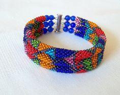 SALE - 3 Strand Colorful  Multicolor Bead Crochet Bracelet - Bright Geometrics - orange - green - red - blue - pink - sky blue - grey
