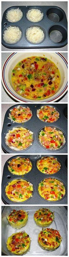 Individual Ham, Cheese and Veggie Frittatas