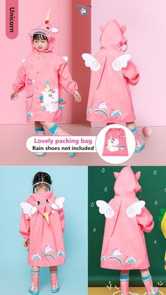 Eco-friendly Material: This cute rain coat is made from eco-friendly EVA fabrics which is comfortable, breathable and waterproof! User-friendly Design: Inflatable hooded edges prevent rainwater from penetrating, and the raincoat hood can be fixed without deformation. Beautiful Pattern: The cute unicorn and flamingo pattern is very beautiful and your child will love this rain jacket ! Unicorn Kids, Cute Unicorn, Rain Shoes, Flamingo Pattern, Rain Wear, Toy Boxes, Beautiful Patterns, Rain Jacket, Eco Friendly