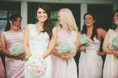 Love the different #dustypink dresses for this #vintagewedding! Photo by Jessie Holloway
