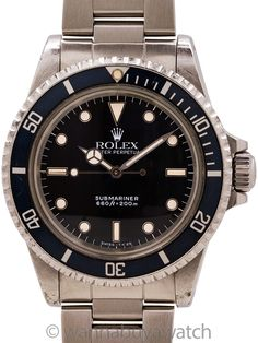 Rolex Submariner ref 5513 circa 1988 - A very late production, and well preserved Rolex Submariner ref 5513, circa 1988. The 5513 began its life as a gilt dial Submariner almost 60 years ago in 1962, evolving over the decades from gilt, to matte dial, and finally to gloss dial you see here. It was then discontinued in 1989 when it was replaced by the sapphire crystal 14060. With it's L6 serial dating the watch to approximately 1988, the current example 5513 is one of the absolute last… Stainless Steel Rolex, Rolex Models, Elapsed Time, Sea Dweller, Thing 1, Pre Owned Rolex, Modern Watches, Vintage Models, Vintage Rolex