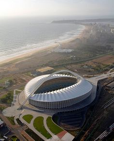 The city of Durban - SA ( Courtesy Mondli Gregory Msomi ) Soccer Stadium, Football Stadiums, Civil Engineering, Countries Of The World, Modern Architecture, South Africa, Beautiful Places, Places To Visit, Around The Worlds