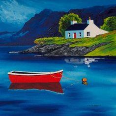 Plockton reflection<br x />acrylic Watercolours, Watercolor Paintings, Original Paintings, Landscape Art, Landscape Paintings, Beach Huts Art, John Bellany, Abstract Format, Seaside Art
