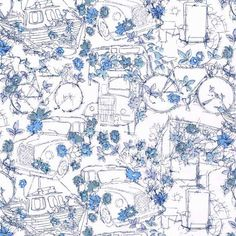 This beautiful print, Travelling Threads, by Liberty of London, shows bicycles, London taxis and buses, and tugboats, tangled in thickets of flowers! Size:Fat Quarter: 45cm x 67cm,By the metre:…