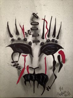 Sharpie and Charcoal Joey Jordison Mask