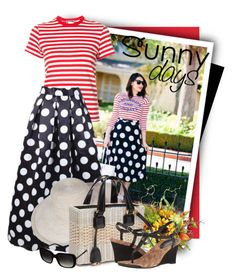 """""""Polka Dot Print Maxi A-Line Flared Skirt"""" by tasha1973 ❤ liked on Polyvore featuring RE/DONE, WithChic, Creative Displays, Mark Cross, Lauren Ralph Lauren and Coach"""
