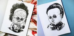 Baby Terrors: Your Favorite Monsters and Horror Villains as Babies! Horror Villains, Monsters, Babies, Ink, Cards, Babys, Baby, India Ink, Maps