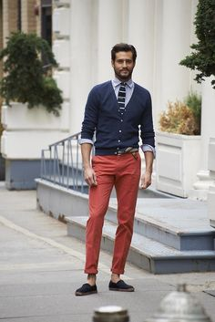 Shop this look for $136: http://lookastic.com/men/looks/cardigan-and-dress-shirt-and-chinos-and-espadrilles-and-tie/3098 — Navy Cardigan — Navy and White Gingham Dress Shirt — Red Chinos — Navy Canvas Espadrilles — Navy and White Knit Tie