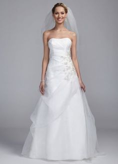 Strapless A Line Organza Gown with Lace Embroidery ECX3329