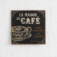 WALL PLAQUE CAFE - BLACK