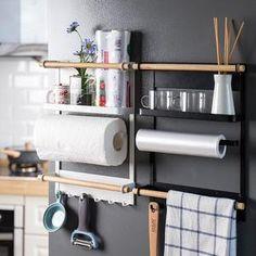 Countertop Organization, Fridge Organization, Sink Organizer, Organization Ideas For The Home, Bedroom Organisation, Kitchen Organizers, Organizing Ideas, Kitchen Paper Towel, Kitchen Towels