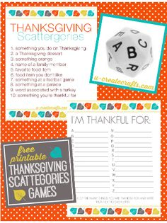 Thanksgiving Scattergories Free Printable