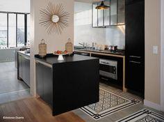 cement tile carpet in the kitchen Cosy Kitchen, New Kitchen, Kitchen Decor, Apartment Kitchen, Kitchen Interior, Cocinas Kitchen, Interior Design Advice, Dream Home Design, Cuisines Design