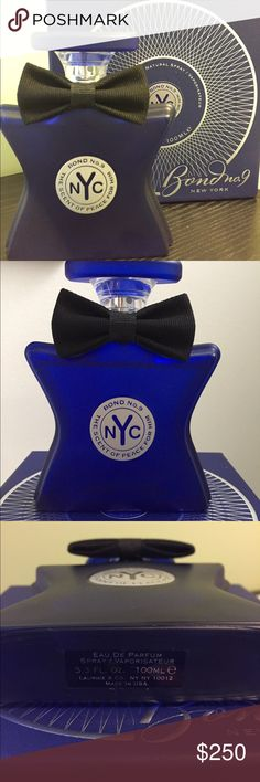 Bond No. 9 New York for him 3.3 OZ 90% full. The scent of peace for him. Notes of: bergamot, pineapple, juniper berry, blackcurrant, cedarwood, vetiver, patchouli, moss and musk. Bond no. 9 New York Accessories