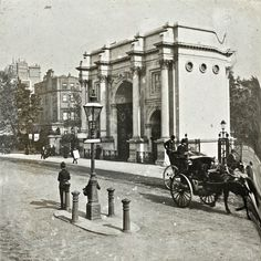 Marble Arch, designed by John Nash in 1827 to be state entrance to the cour d'honneur of Buckingham Palace. Relocated in 1851, it is now stands isolated + incongruously, on a large traffic island at the junction of Oxford St, Park Lane & Edgware Rd. Rooms inside the rebuilt arch were used as a police station - 1851/1968? Housed the royal constables of the Park, later the Metropolitan Police. Samuel Parkes, awarded the VC in the Charge of the Light Brigade, 1854; was stationed there early…