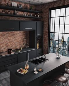37 Top Kitchen Trends Design Ideas and Images for 2019 Part kitchen ideas; kitchen decorating ideas home renovation 37 Top Kitchen Trends Design Ideas and Images for 2019 Part 9 Industrial Kitchen Design, Industrial House, Interior Design Kitchen, Industrial Kitchens, Modern Interior, Brick Interior, Interior Design Plants, Modern Home Interior Design, Urban Industrial