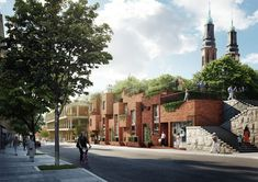 Utopia Arkitekter Designs Apartment Block with Rooftop Park for Stockholm,View from the east. Image Courtesy of Utopia Arkitekter