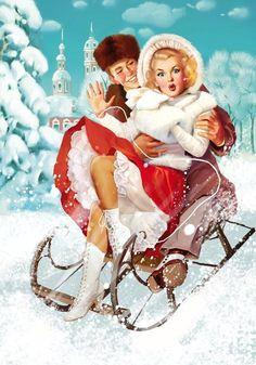 Merry Christmas card. Tatiana Doronina Art, Russia