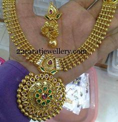 Jewellery Designs: Kundan Antique Necklace with Jhumkas