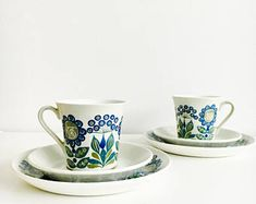 Vintage FIGGJO Norway Tor Viking cup, saucer and desert plate set, Turi Gramstad Oliver-Design, 1960s, made in Norway